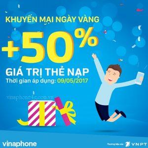 Khuyến mãi 50% Vinaphone ngày 9/5/2017 trên Toàn quốc