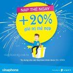 Khuyến mãi thẻ nạp Vinaphone ngày 13/3/2018 tặng 20% giá trị