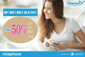 Khuyến mãi nạp thẻ Vinaphone ngày vàng 1/9/2017