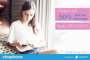 Khuyến mãi nạp thẻ Vinaphone ngày 29/12/2017