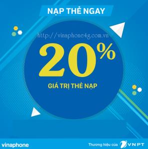 Vinaphone khuyến mãi nạp thẻ 20% ngày 5/10/2018 cho mọi khách hàng